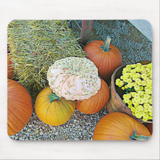 Halloween Pumpkin Hay Autumn Display Mouse Pad