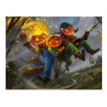 Halloween Pumpkin Head Monsters On A Broom Postcard