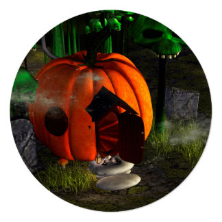 Halloween, pumpkin house with mushrooms as skulls 13 cm x 13 cm square invitation card