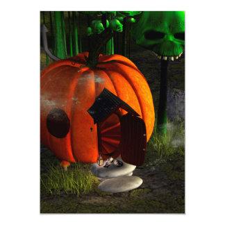 Halloween, pumpkin house with mushrooms as skulls 13 cm x 18 cm invitation card