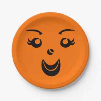 Halloween Pumpkin Lady 7 Inch Paper Plate