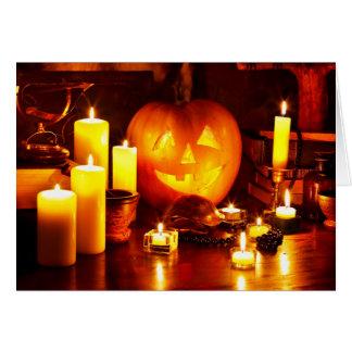Halloween pumpkin lantern greeting card