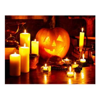 Halloween pumpkin lantern postcard