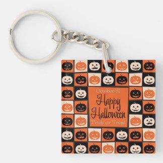 Halloween pumpkin mosaic Double-Sided square acrylic key ring