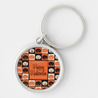 Halloween pumpkin mosaic Silver-Colored round key ring