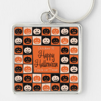 Halloween pumpkin mosaic Silver-Colored square key ring