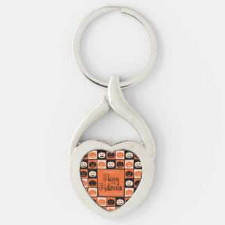Halloween pumpkin mosaic Silver-Colored twisted heart key ring