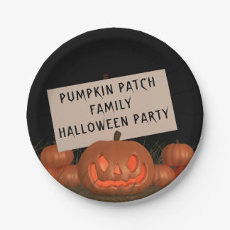 Halloween Pumpkin Patch Personalised Paper Plates 7 Inch Paper Plate
