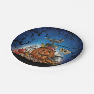 Halloween Pumpkin Raven Party Paper Plate