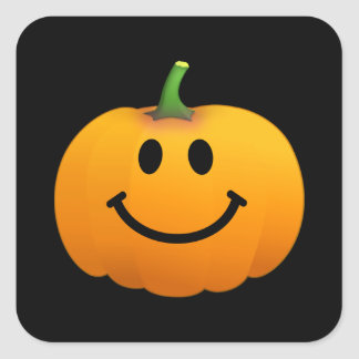 Halloween Pumpkin Smiley face Square Sticker