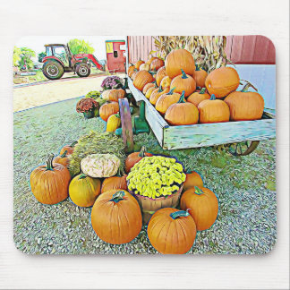 Halloween Pumpkin Stand Autumn Display Mouse Pad