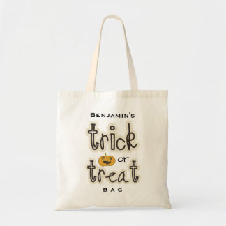Halloween Pumpkin Trick or Treat Candy Custom Budget Tote Bag