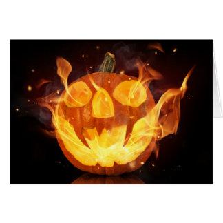Halloween Pumpkin With Fire Flames Greeting Card