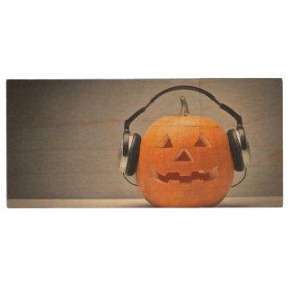 Halloween Pumpkin With Headphones For Music Wood USB 2.0 Flash Drive