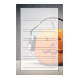 Halloween Pumpkin With Headphones For Music Custom Stationery