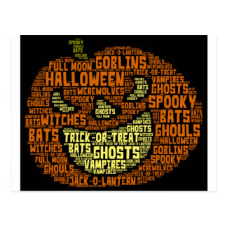 Halloween Pumpkin Word Cloud-Word Art Postcard