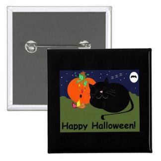 Halloween PumpkinandKitty Pinback Button