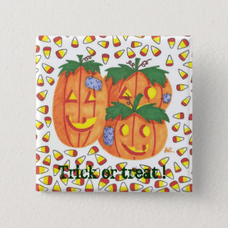 Halloween pumpkins 15 cm square badge