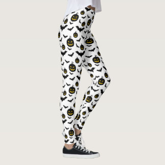 Halloween pumpkins and bats pattern leggings