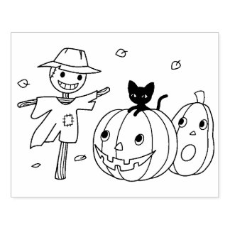 Halloween Pumpkins and Scarecrow Coloring Page Rubber Stamp