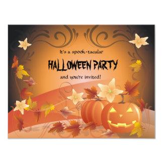 Halloween Pumpkins, Autumn Leaves & Swirls Custom Invites