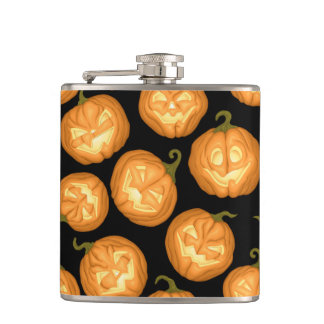 Halloween pumpkins hip flask
