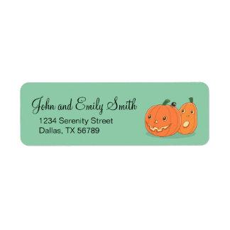 Halloween Pumpkins on Green Return Address Label