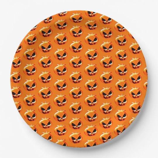 Halloween Pumpkins Orange Paper Plate