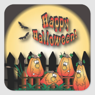 Halloween Pumpkins Sitting on a Fence Square Sticker