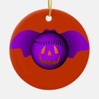 Halloween Purple Baseball Bat Round Ceramic Decoration