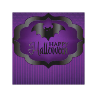 Halloween purple bat canvas print