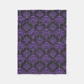 Halloween Purple Damask Chalkboard Pattern Fleece Blanket