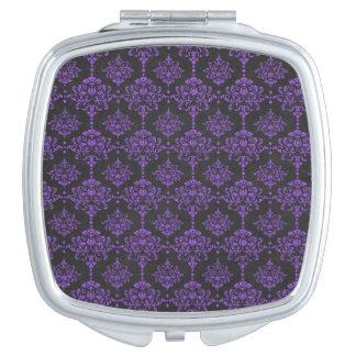 Halloween Purple Damask Chalkboard Pattern Mirrors For Makeup