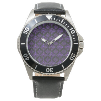 Halloween Purple Damask Chalkboard Pattern Wrist Watches