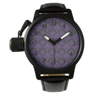 Halloween Purple Damask Chalkboard Pattern Wristwatches
