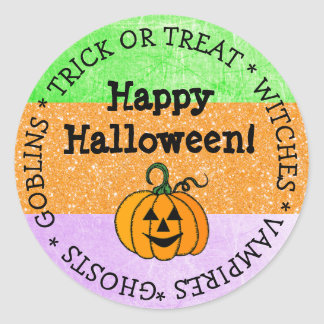 Halloween Purple, Green, Orange Pumpkin Sticker