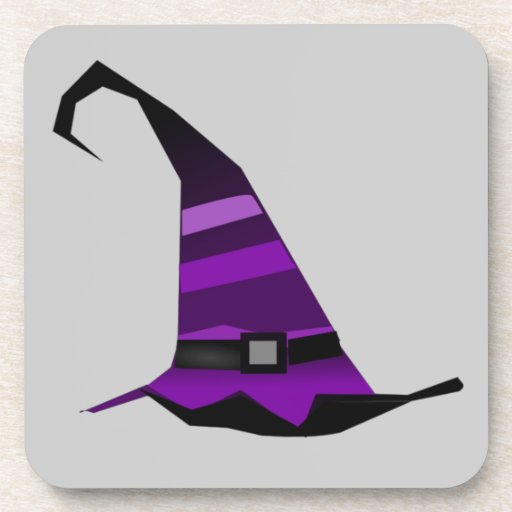 Halloween Purple Witches Hat Drink Coasters