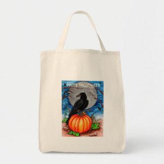 Halloween Raven Tote Bags