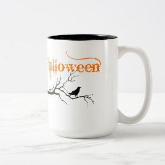 Halloween Raven Branch Two-Tone Coffee Mug