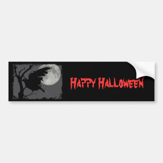 Halloween Raven in Branch with Full Moon Bumper Stickers