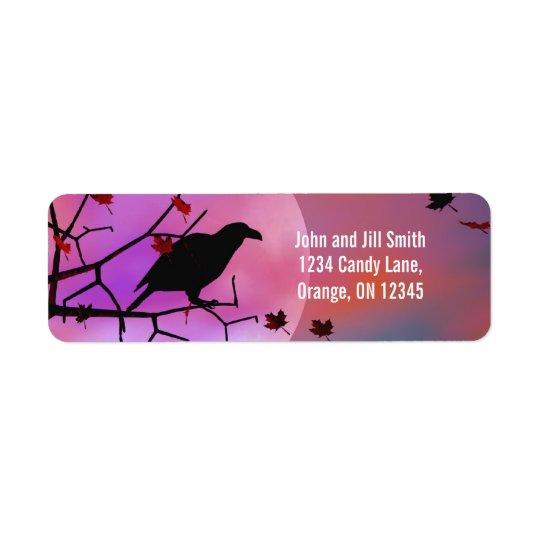 Halloween Raven Night Return Address Label