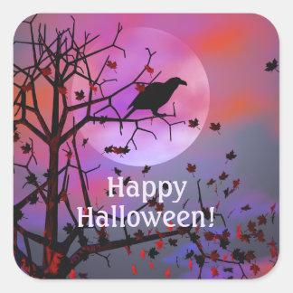 Halloween Raven Night Square Sticker