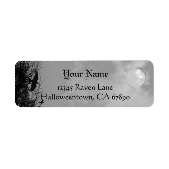 Halloween Raven Sky Custom Return Address Label