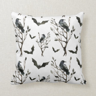 Halloween - Raves & Bats B/W Watercolors Cushion