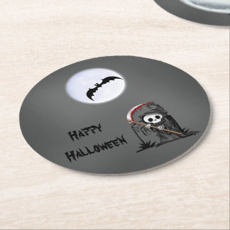 Halloween Reaper Moon Bat Tombstone Round Paper Coaster