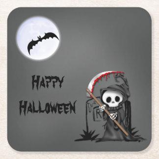Halloween Reaper Moon Bat Tombstone Square Paper Coaster