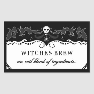 Halloween Rectangle Black & White Label - Large
