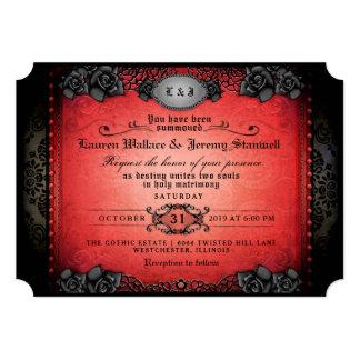 Halloween Red & Black Roses Gothic Wedding Invite