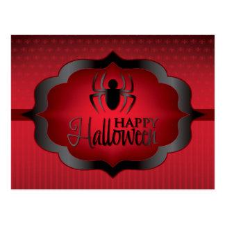 Halloween red spider postcard