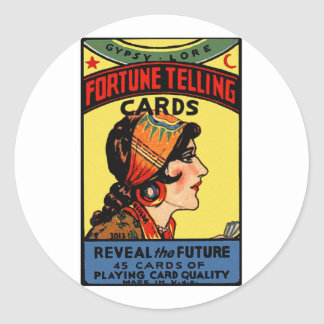 Halloween Retro Vintage Fortune Telling Cards Classic Round Sticker